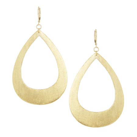 18K Gold Clad Satin Teardrop Lever Back Earrings