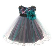 Baby Girls Teal Multi Sequin Tulle Special Occasion Dress 12M