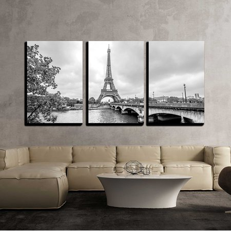 Paris Eiffel Tower Decor (wall26 - 3 Piece Canvas Wall Art - Paris Eiffel Tower from Seine. Cityscape in Black and White - Modern Home Decor Stretched and Framed Ready to Hang - 16