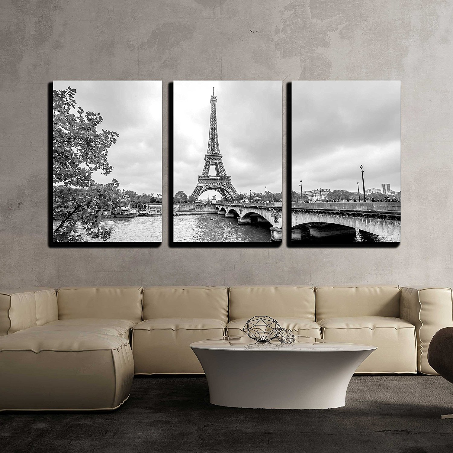 "wall26 - 3 Piece Canvas Wall Art - Paris Eiffel Tower from Seine. Cityscape in Black and White - Modern Home Decor Stretched and Framed Ready to Hang - 16""x24""x3 Panels"