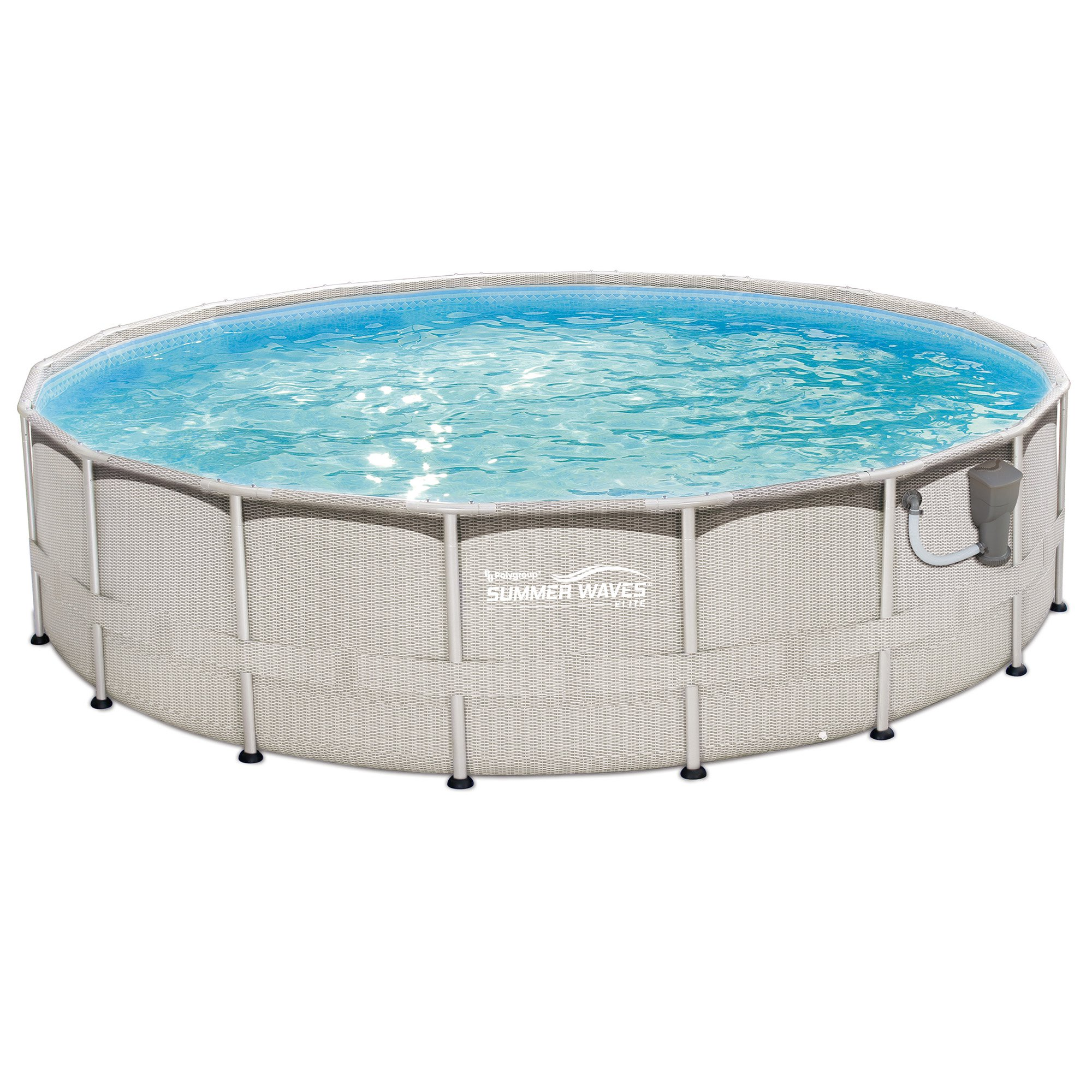 "Summer Waves 18' x 48"" Above Ground Metal Frame Swimming Pool with Ladder & Kit by Summer Waves"
