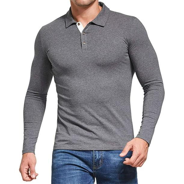 Aiyino Men's Long Sleeve Polo Shirts Casual Slim Fit Basic Designed Cotton Shirts