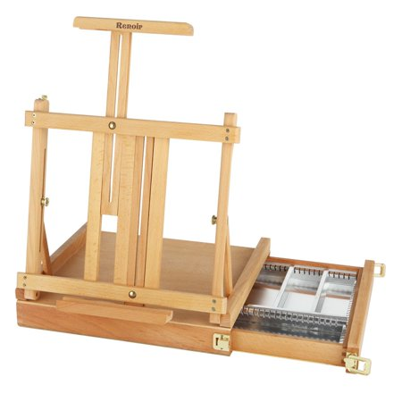 Creative Mark Renoir Table Easel & Sketchbox with Metal Lined Drawer - Adjustable Artist Easel With Storage - Oiled Beechwood Finish