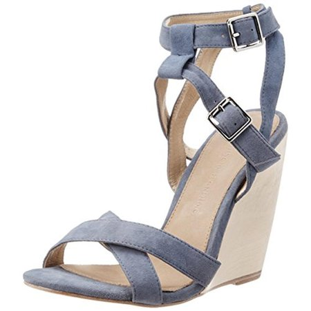 Madison Harding Womens Kareen Suede Ankle Strap Wedge Sandals
