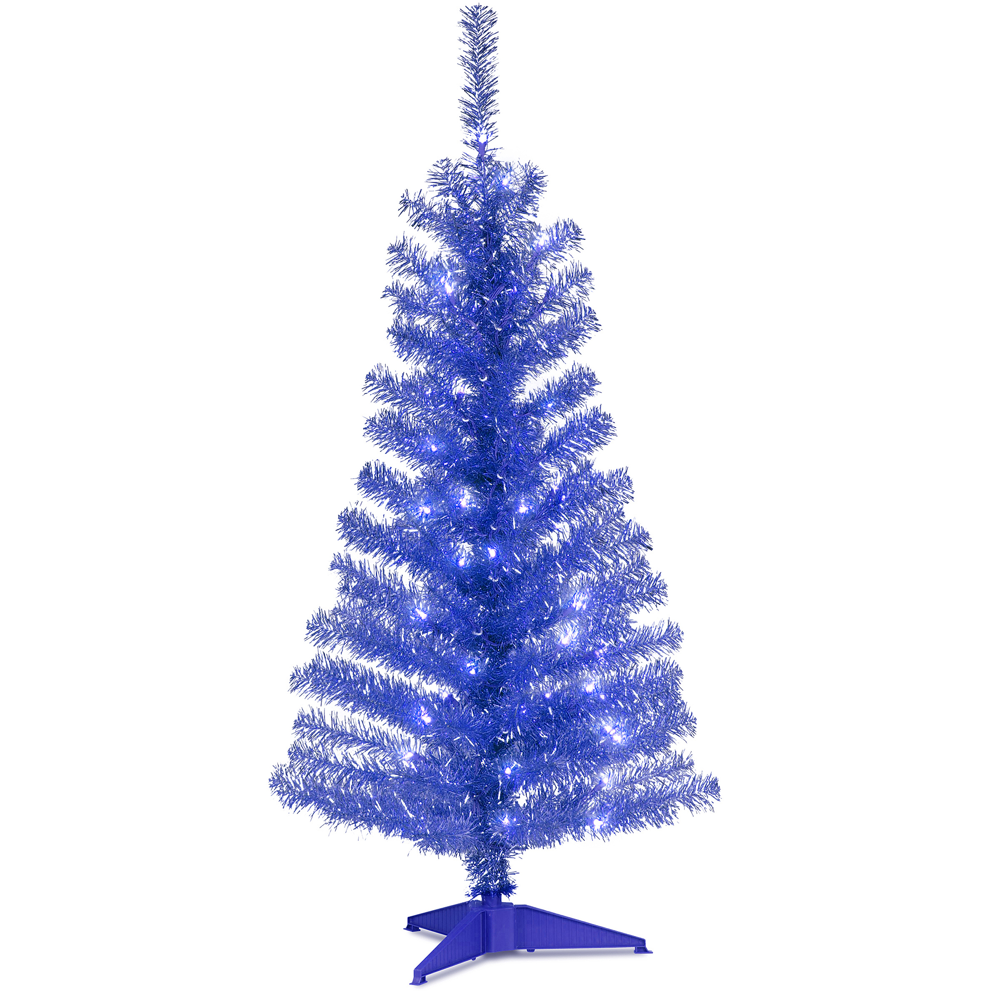 National Tree Pre-Lit 4' Tinsel Wrapped Artificial Christmas Tree with Plastic Stand and 70 Clear Lights, Blue