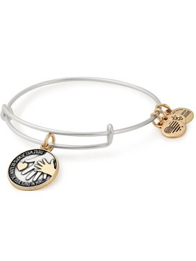 Hand in Hand Two-Tone Charm Bangle Bracelet