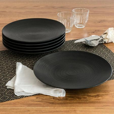 Black Rimmed Dinner Plate - Better Homes and Gardens Matte Swirl Dinner Plates, Black, Set of 6