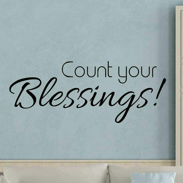 Vwaq Count Your Blessings Wall Decal Sticker Inspirational Faith Quote Decor Walmart Com Walmart Com