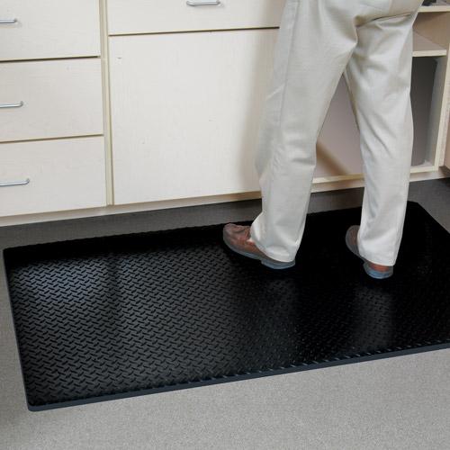 G-Floor Anti-Fatigue Mat, 3' x 5', Diamond Tread, Midnight Black