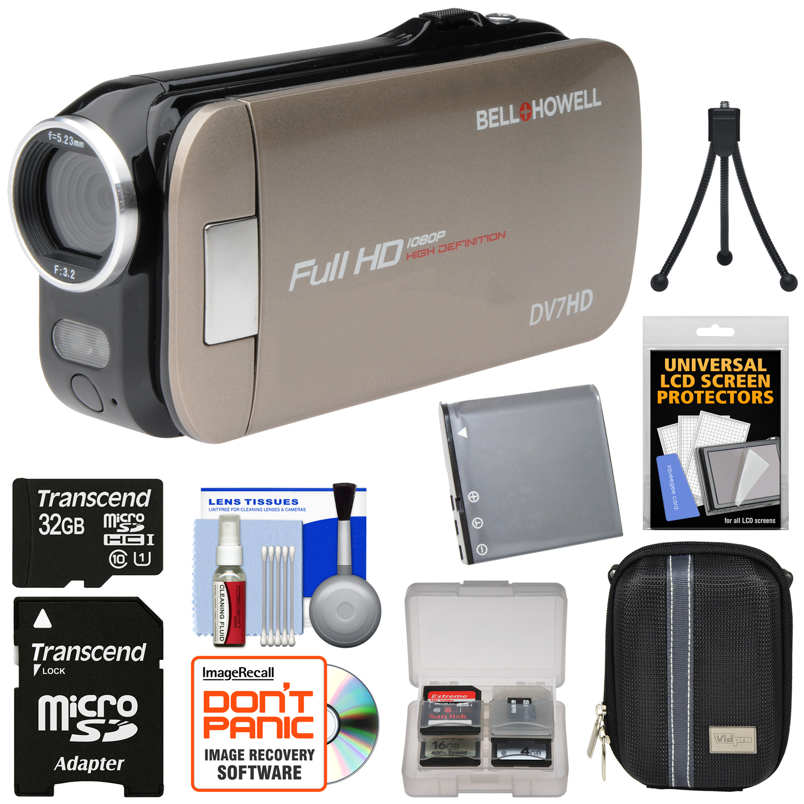 Bell & Howell Slice2 DV7HD 1080p HD Slim Video Camera Camcorder (Champagne) with 32GB Card + Battery + Case + Tripod + Kit