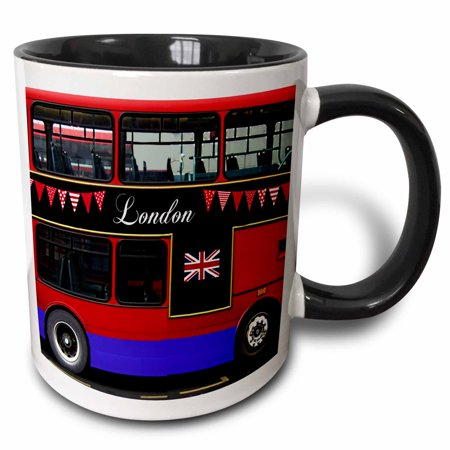 3dRose London Double Decker Red Bus with bunting and flag - UK Great Britain United Kingdom Travel souvenir - Two Tone Black Mug, 11-ounce