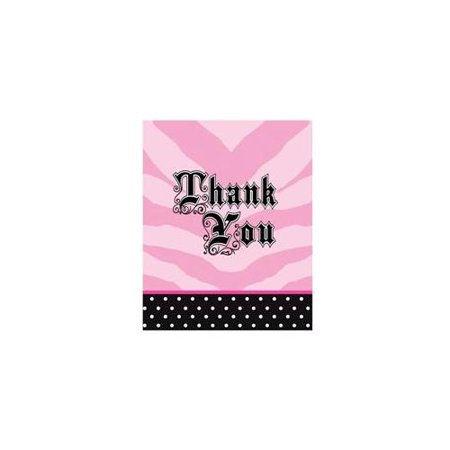 Pink Zebra Party Thank You Notes