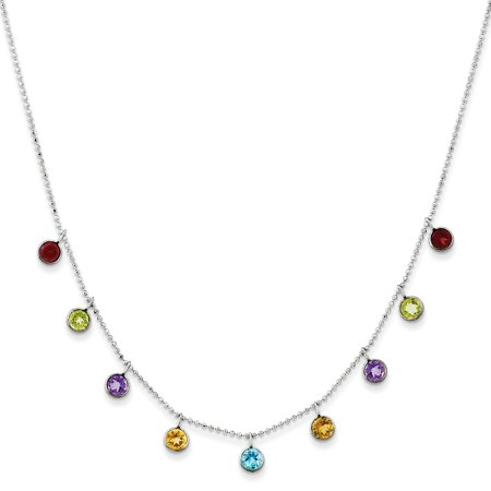 Roy Rose Jewelry 14K White Gold Multi-color Gemstone with 2 inch extention Necklace ~ length: 16 covid 19 (14k Yg Multi Gemstone coronavirus)