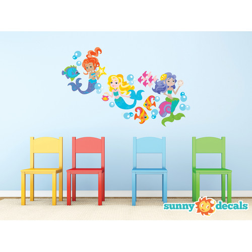 Sunny Decals Beautiful Mermaid Fabric Wall Decal
