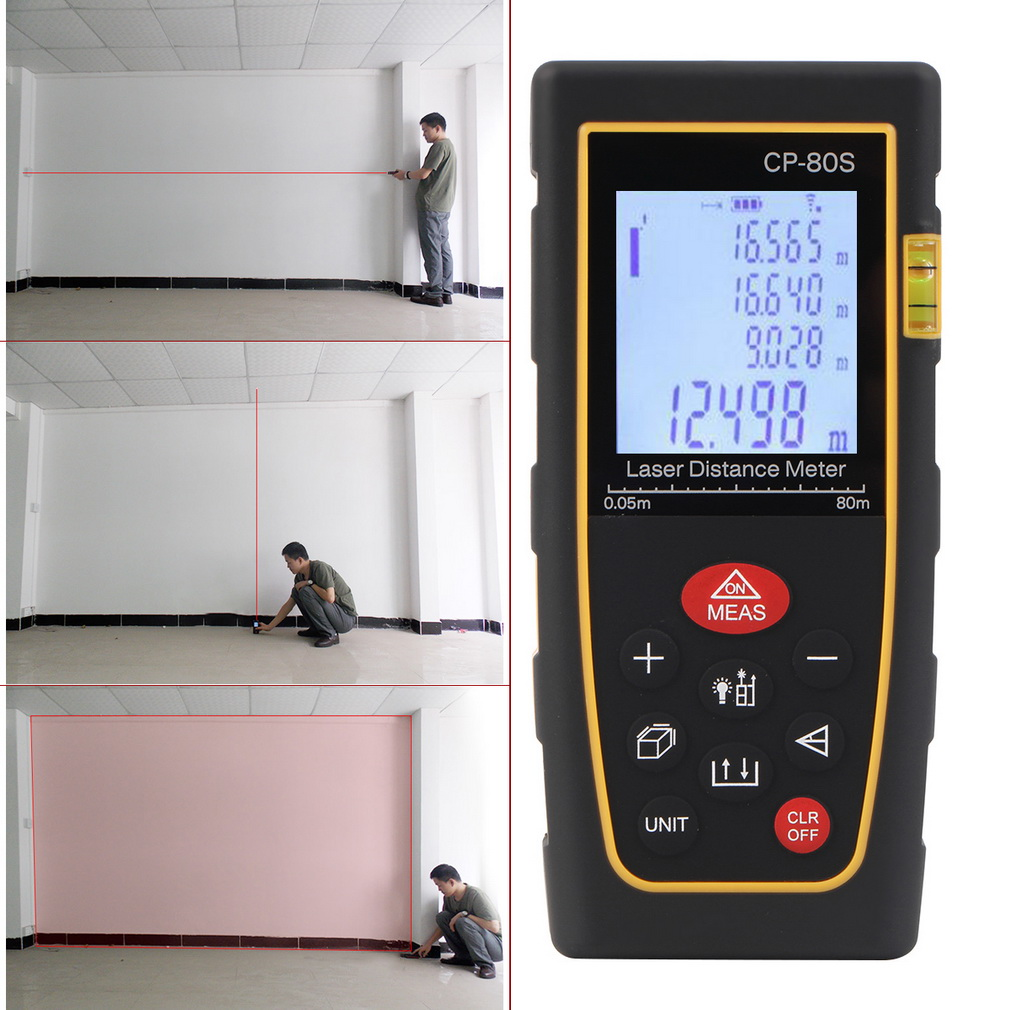 80M Handheld Digital Laser Distance Meter Range Finder Measure Diastimeter,black & yellow,