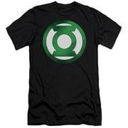 Trevco Green Lantern-Green Chrome Logo Short Sleeve Adult 30-1 Tee, Black - Small