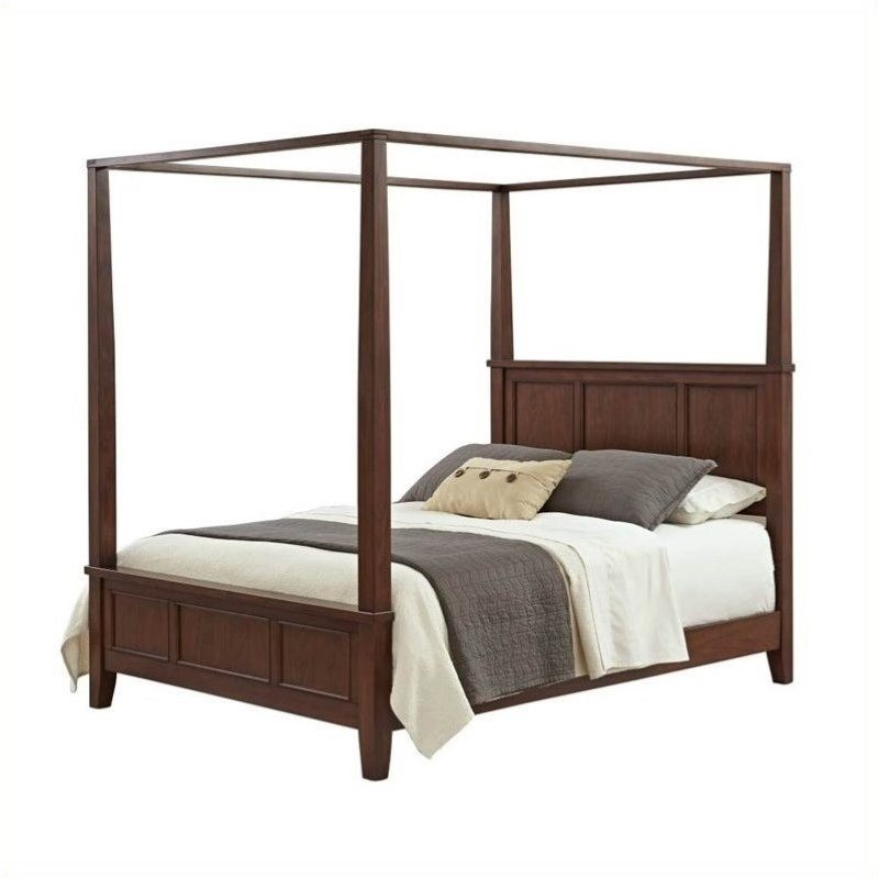 Bowery Hill King Canopy Bed in Classic Cherry by Bowery Hill