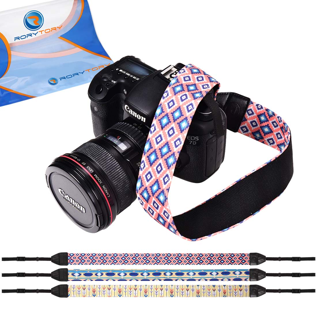 RoryTory 3pc Various Design Patterned DSLR Camera Shoulder and Neck Strap Bundle