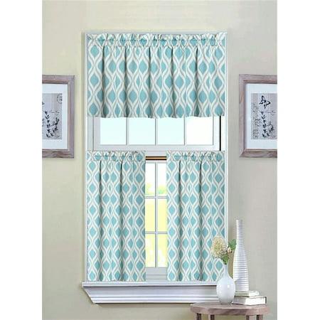 Goodgram Luxurious Turquoise Geometric Shabby 3 Piece Kitchen Curtain Tier Valance Set
