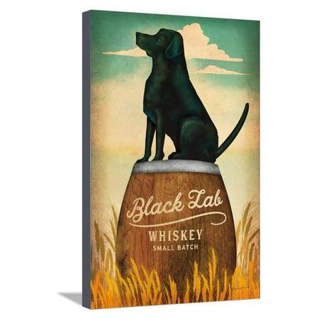 Black Lab Whiskey Retro Dog Liquor Ad Stretched Canvas Print Wall Art By Ryan Fowler (Ad Calvert Whiskey)