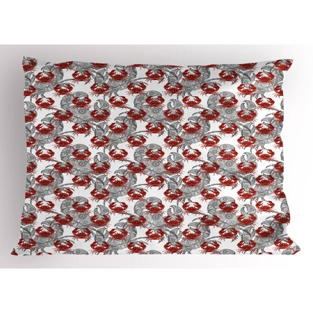 Animal Print Theme (Crabs Pillow Sham Sea Animals Theme Illustration of Crabs on White Background Pattern Art Print, Decorative Standard Size Printed Pillowcase, 26 X 20 Inches, Ruby and Grey, by)