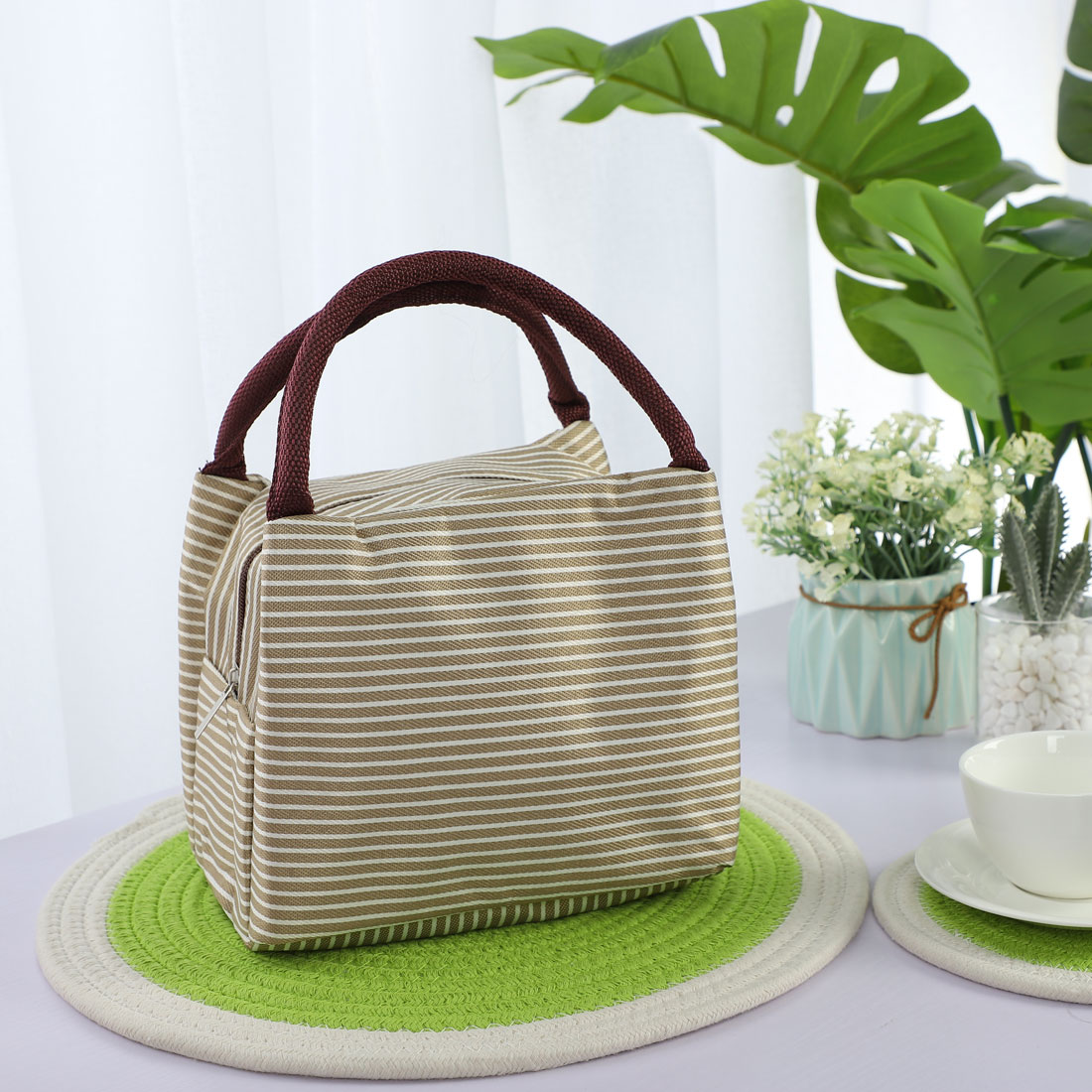 Lunch Bag Warmer Cooler Travel Food Box Tote Carry Insulated Bags Khaki+White - image 1 de 7