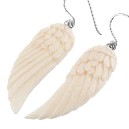 Eagles Sterling Silver Eagles (Eagle Angel Wings Buffalo Bone Hand Carving 925 Sterling Silver Earrings, 1)