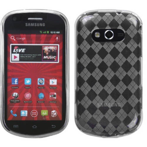 Samsung M950 Galaxy Reverb MyBat Candy Skin Cover, Transparent Clear Argyle Pane