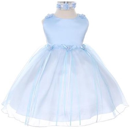 Rosebud Flower Bow Ribbons Baby Little Girl Flower Girls Dresses Blue S - Blue Girls Dress