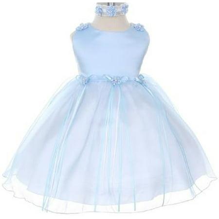 Rosebud Flower Bow Ribbons Baby Little Girl Flower Girls Dresses Blue - Baby Blue Flower Girl Dress