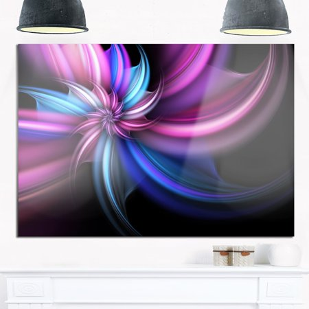 DESIGN ART Purple and Blue Psychedelic Flower - Floral Glossy Metal Wall Art ()