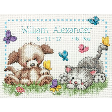 "Pet Friends Baby Birth Record Counted Cross Stitch Kit, 12"" x 9"", 14-count"