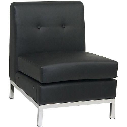Armless Leather Chairs avenue six wall street armless chair, black faux leather - walmart
