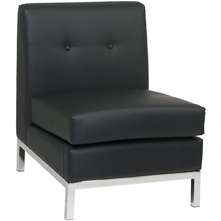 Avenue Six Wall Street Armless Chair  Black Faux Leather