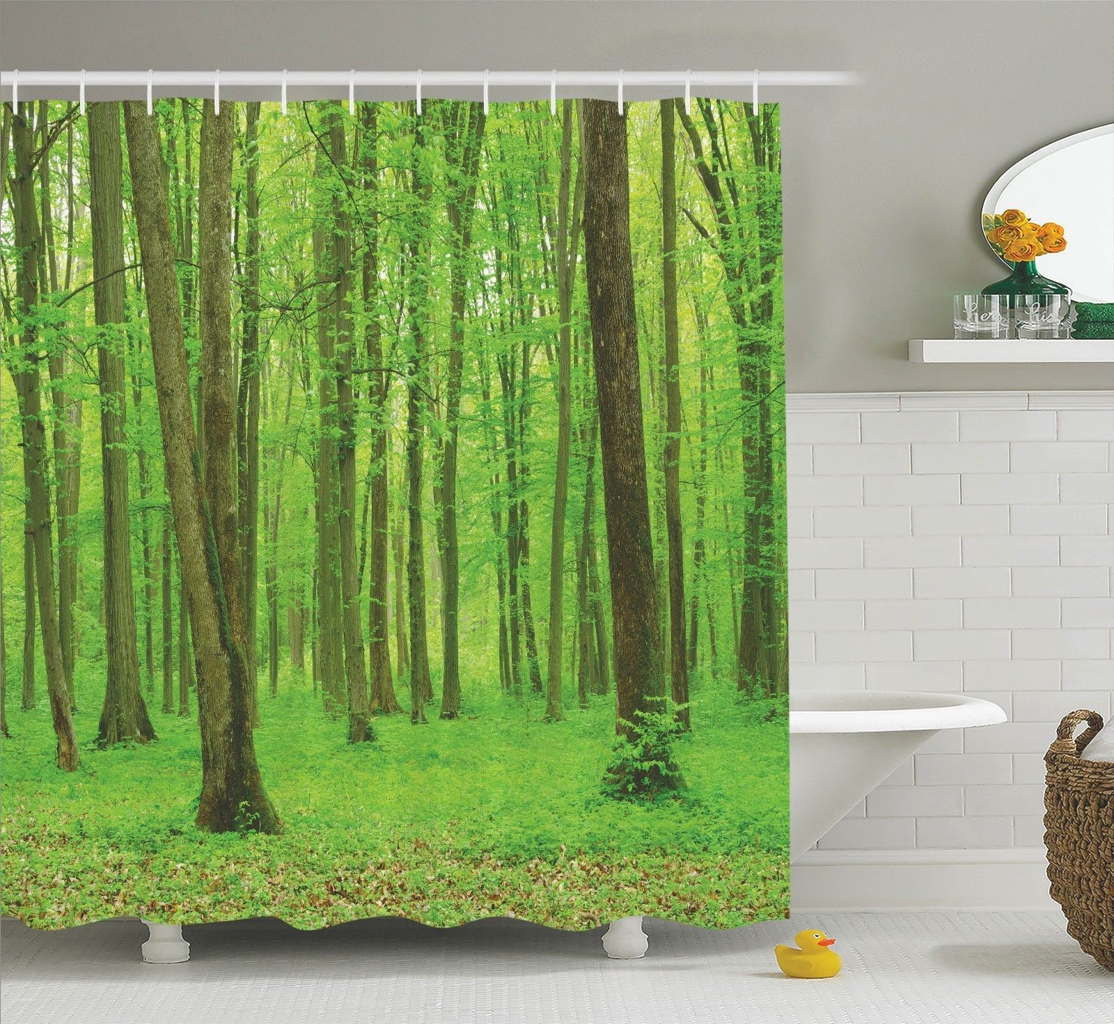 Farm House Decor Shower Curtain Set, Spring Forest In A Sunny Day Bright  Fresh Light
