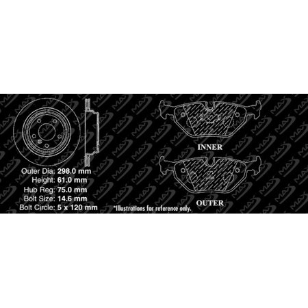 Max Brakes Rear Performance Brake Kit [ Silver Zinc Slotted Drilled Rotors + Ceramic Pads ] KT086812   Fits: 2001 01 2002 02 2003 03 BMW 540i - image 5 de 8