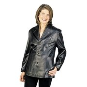 Reed® Women's 27'' Misses Fit Three Button Leather Jacket in Imported Lamb (3X, Black)