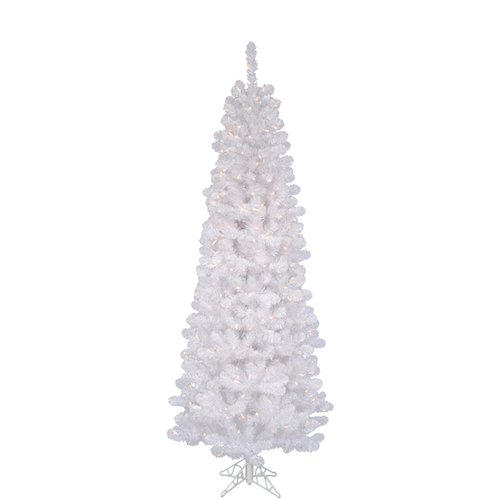 Vickerman White Salem Pencil Pine 6.5' Artificial Christmas Tree with 250 Clear Lights with Stand