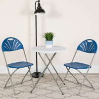 Flash Furniture HERCULES Series 650 lb. Capacity Blue Plastic Fan Back Folding Chair