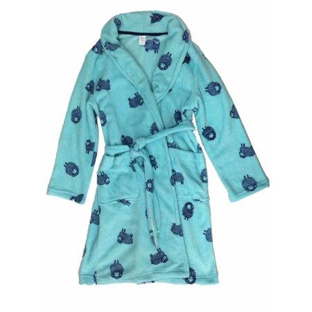Womens Plush Blue Lamb Bathrobe Sheep Bath Robe Housecoat