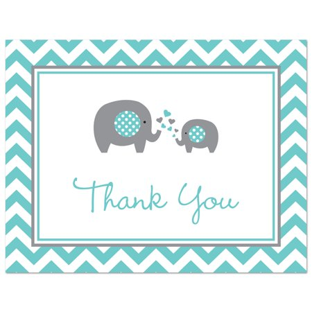 Teal Elephant Baby Shower Thank You Cards And Envelopes 50 Count
