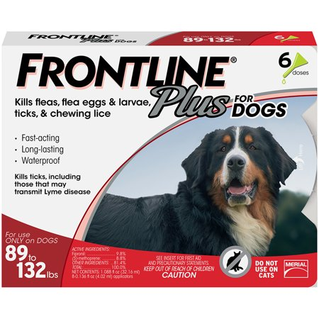 FRONTLINE Plus for Extra Large Dogs (89-132 lbs) Flea and Tick Treatment, 6 Doses - Frontline Plus Dog Flea Control
