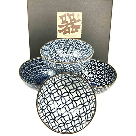 Made in Japan Blue Geometry Glazed Ceramic Rice Meal Soup Dining Bowl Set 4.5