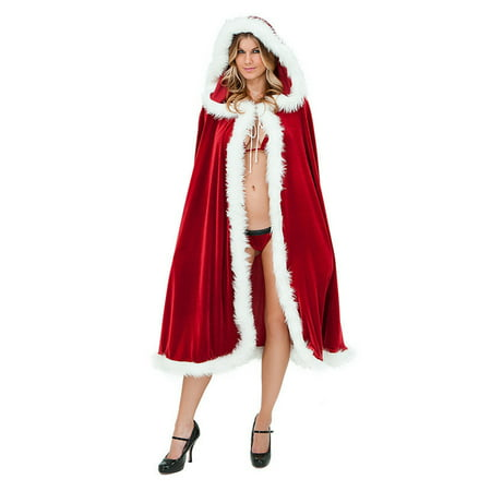 Deluxe Women Christmas Cape Mrs Santa Claus Cloak Hooded Suit Fancy Dress Costume Outfit