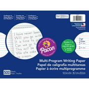 """Pacon Handwriting Paper Tablet, Grades 1 & 2, Ruled Long, 10.5"""" x 8"""", 500 Sheets"""