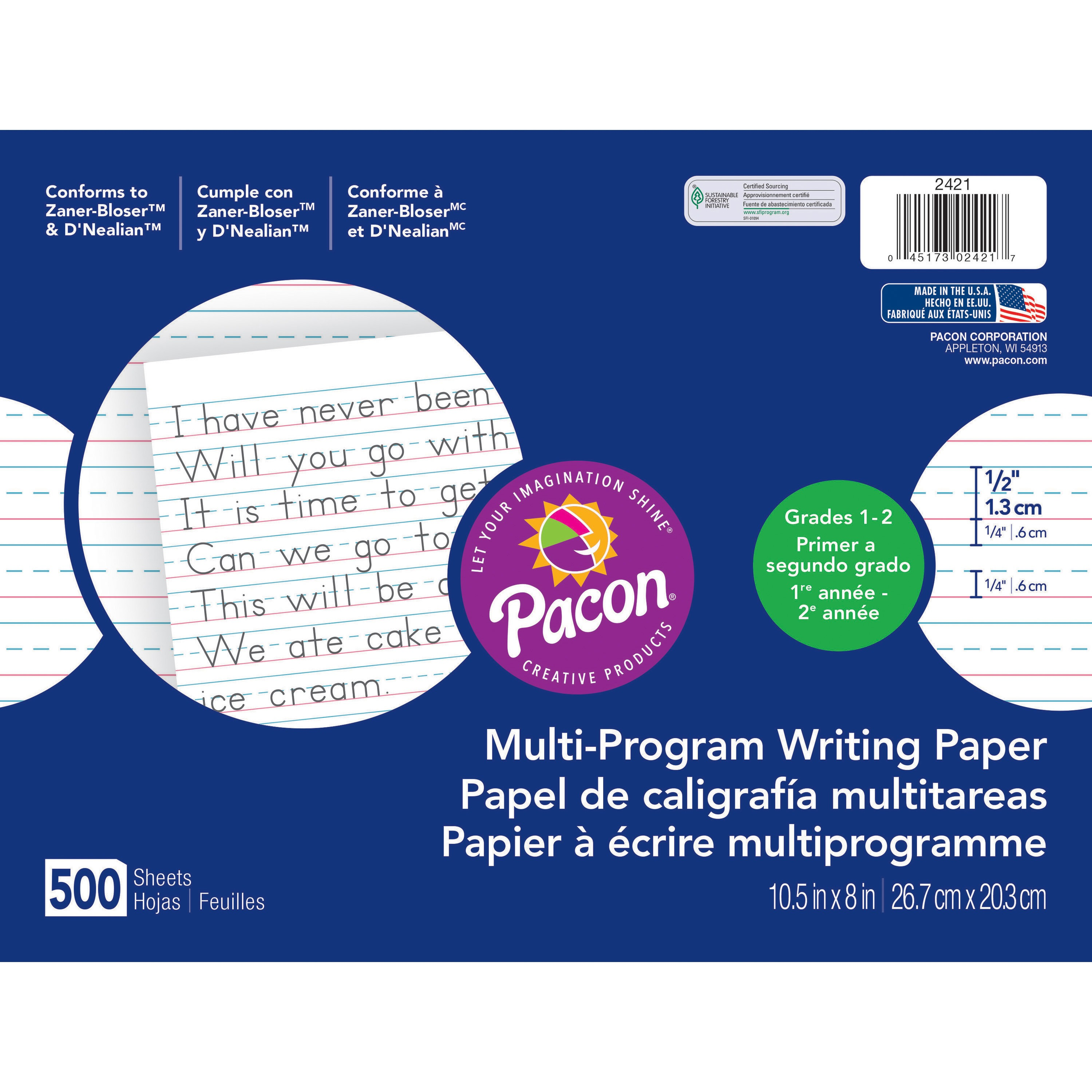 "Pacon Handwriting Paper Tablet, Grades 1 & 2, Ruled Long, 10.5"" x 8"", 500 Sheets"