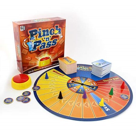 ginger fox pinch 'n' pass family board game - how many actors, pizza toppings can you name under pressure - tense game battle with your opponents and the buzzer in this quick-thinking, fast-paced game of categories. how many famous actors, pizza toppings, or breeds of dog can you name under pressure. pinch and pass category cards by being able to list more than your opponents to win.there's a huge variety of category cards with something for everyone. the spinner decides which round you play: pinch, pass or head to head. the random electronic timer creates tense game play, you never know who will be left with the card. box dimensions 9.65 x 9.65 x 2.95 inches.SKU:ADIB071RTJXD4