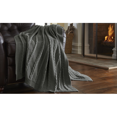 Amrapur Overseas Inc. Cable Sweater Knit Throw