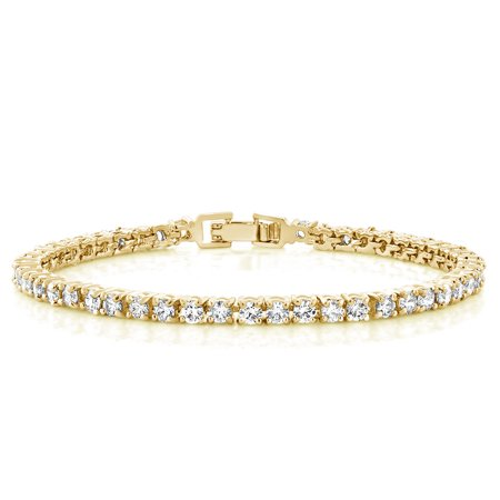12 00 Ct 7 Inch Round Cubic Zirconias Cz Yellow Gold Plated Tennis Bracelet