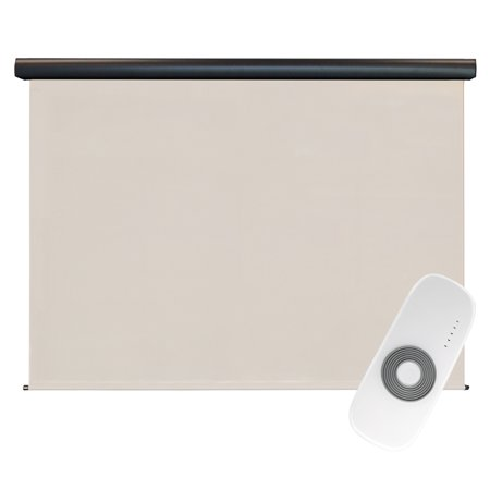 Keystone Fabrics Premier 4' x 8' Rechargeable Motorized Outdoor Sun Shade with Protective Valance and Remote, Sand Dune ()